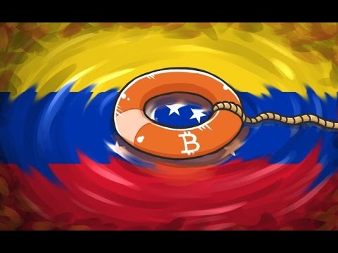 venezuela flag with bitcoin logo above it