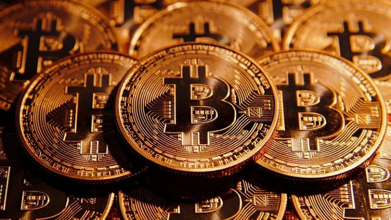 stacked bitcoins one above each other