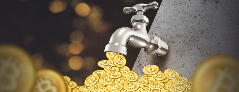 faucet pouring bitcoins illustration this is one of the ways to earn free bitcoin