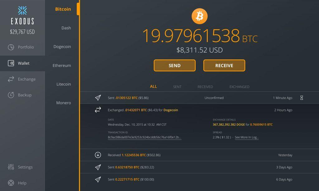 exodu3 1024x614 - Exodus, Multi-Asset Wallet, integrates Bitcoin Cash and Ethereum Classic