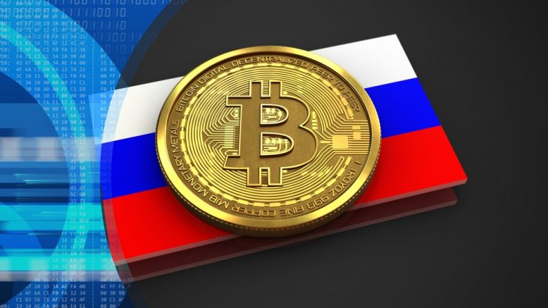 phisycal bitcoin over russia flag