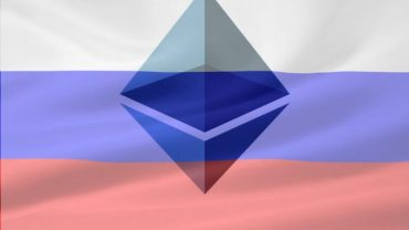 ethereum logo with russia flag over