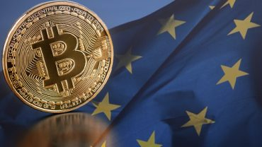 eu flag with phisycal bitcoin