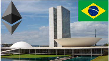 ethereum logo near brazil flag
