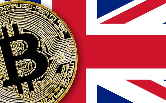 great britainflag with bitcoin above