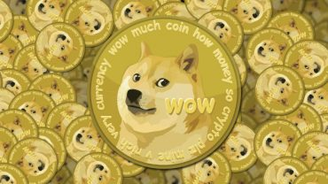 Dogecoin logo with several coins behind
