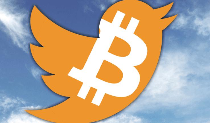 bitcoin logo over twitter logo