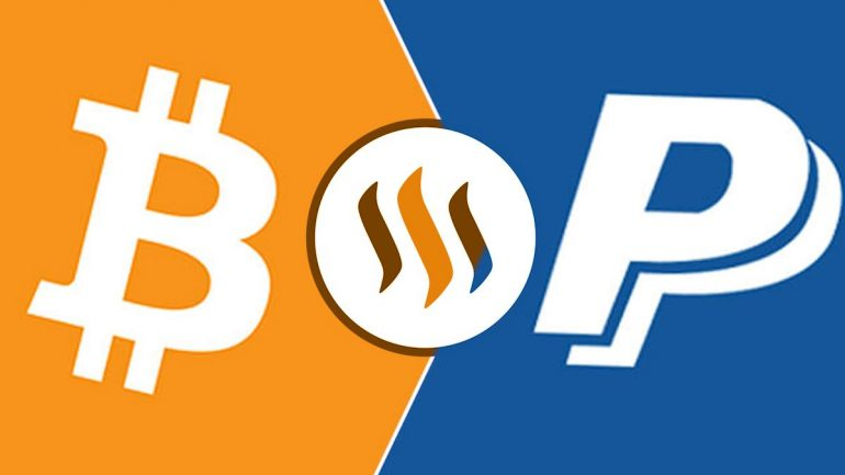 bitcoin steemint and paypal logo