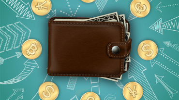 wallet full of cash near bitcoin and other currencies