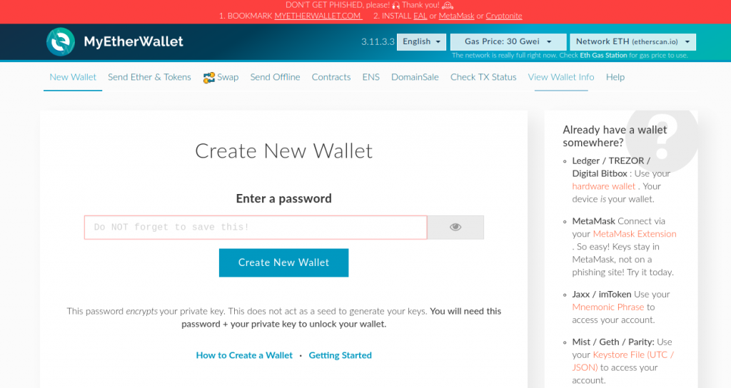 myetherwallet home 1024x544 - Guide: How To Buy Gifto (GTO) On Binance Exchange