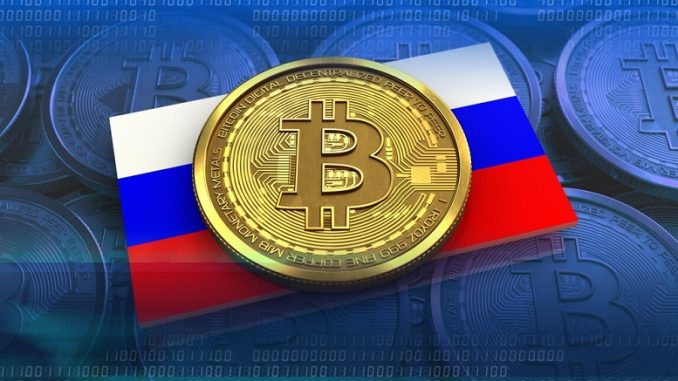 bitcoin above russian flag