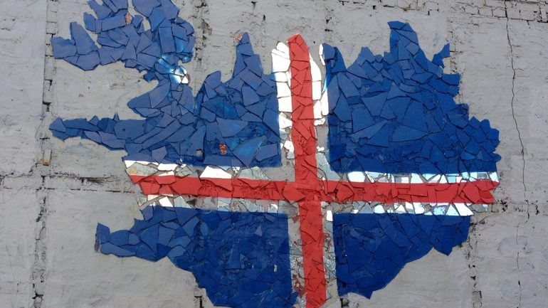 Icelandic Flag made on a wall