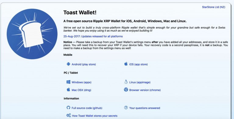 toast wallet 1 - Top 5 Most Secure Ripple Wallets In 2018
