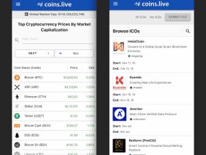 Coins.live app crypto market cap and ICO calendar