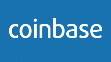 coinbase logo with blue background. In this exchange you can buy Ethereum with Credit Card