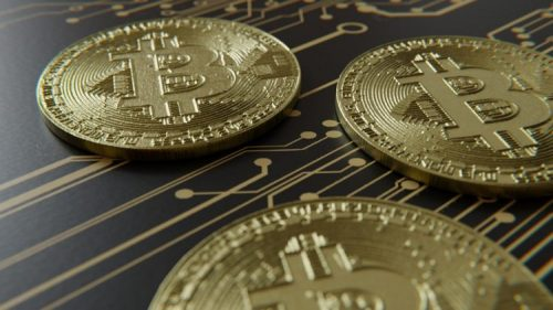 bitcoin coins on chip