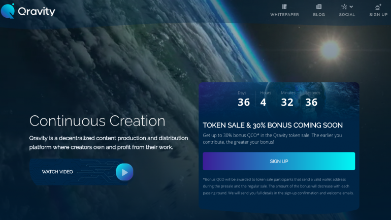 qravity website interface