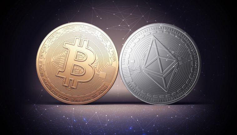 btc and eth coins