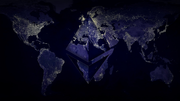 ethereum logo on worldwide map