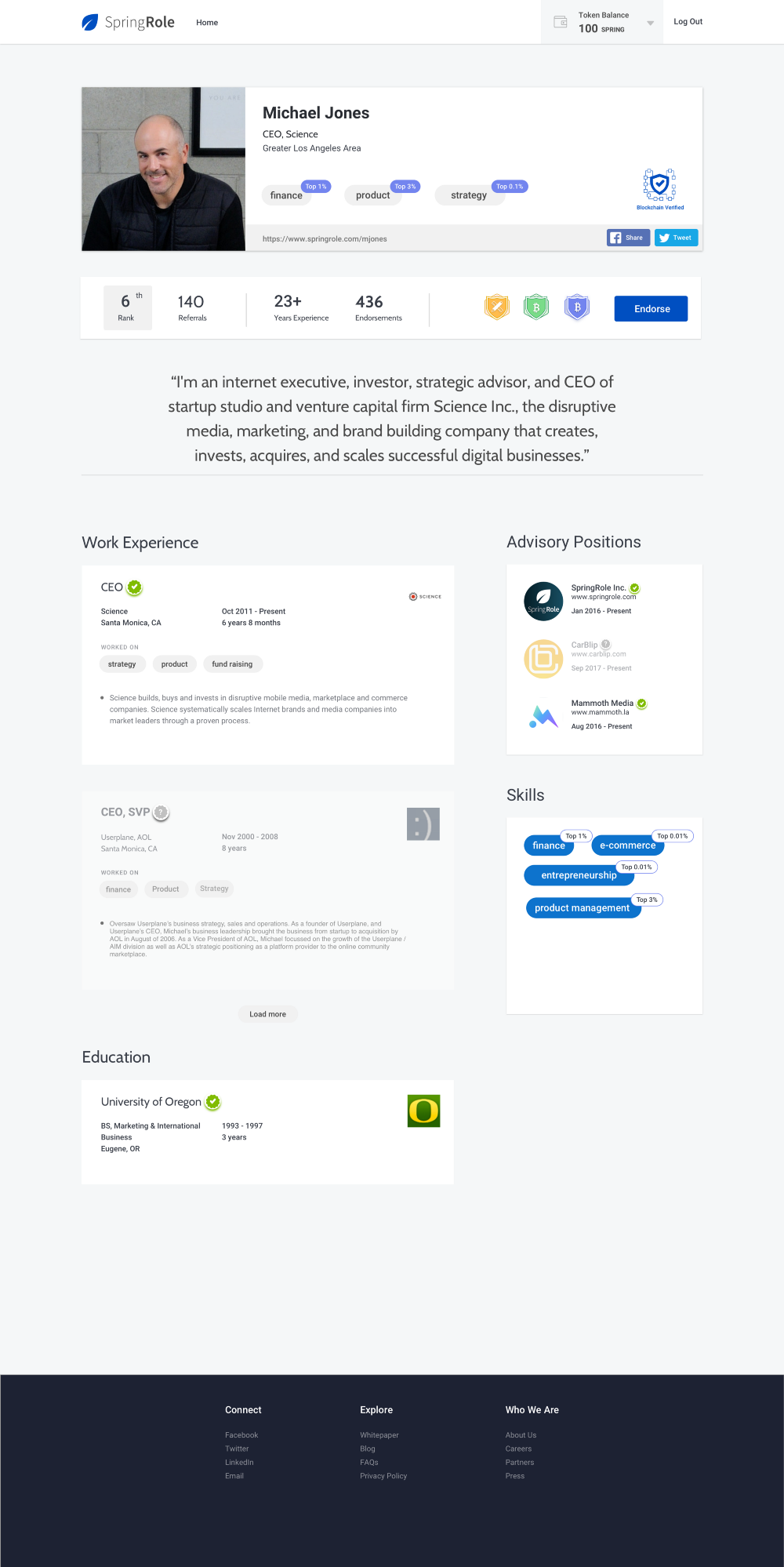 SpringRole Mockup - SpringRole: A Better Way to Build Credible Professional Profiles Powered by Blockchain