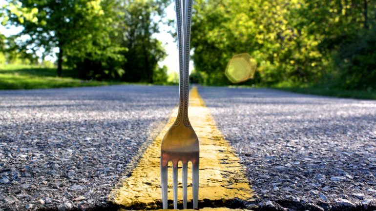 fork in the middle of the road