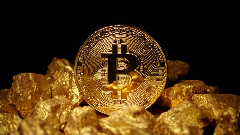 Bitcoin near chucks of Gold