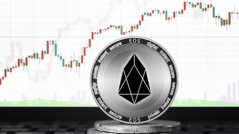 EOS price on price chart going up