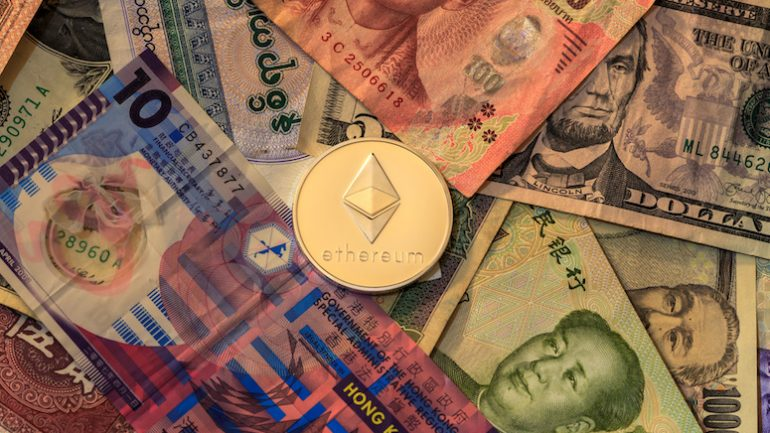 ethereum coin on fiat money