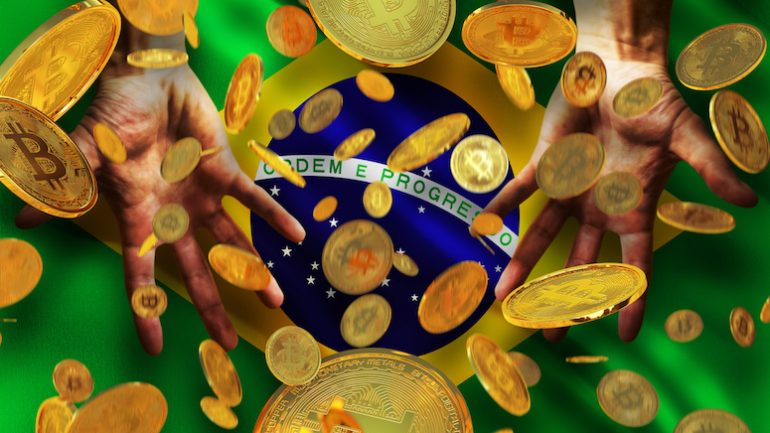 bitcoins falling down on brazil flag illustration