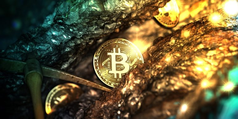 shinning bitcoin in a mining mine