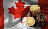 phisycal bitcoins stacked above canada flag Bitcoin in canada