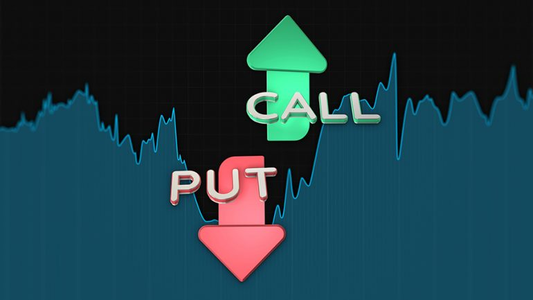 Put and call color arrows binary option chart on black