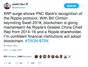 Captura de pantalla 2018 09 23 a las 15.45.13 300x230 - Justin Sun Thinks XRP's Surge Shows Financial Institutions Will Adopt Blockchain
