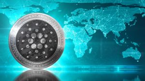 Cardano (ADA) coin against world map Goguen