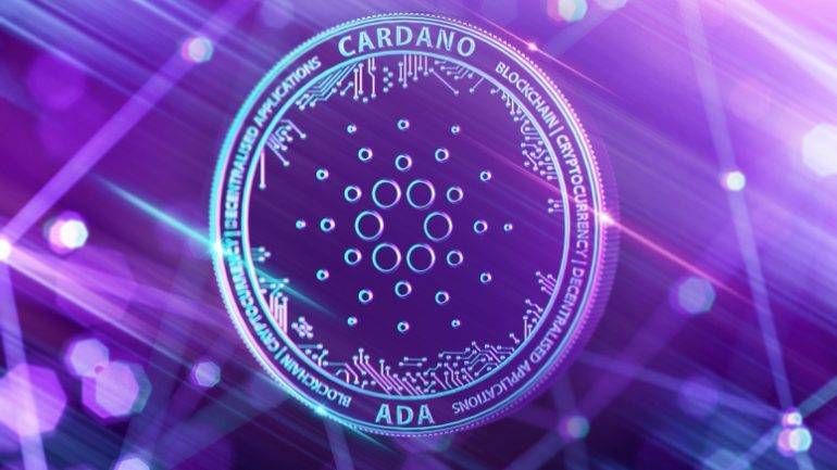 Cardano crypto coin in purple