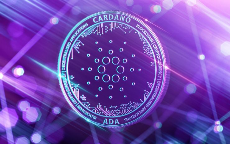 Cardano crypto Goguen coin in purple Cardano price