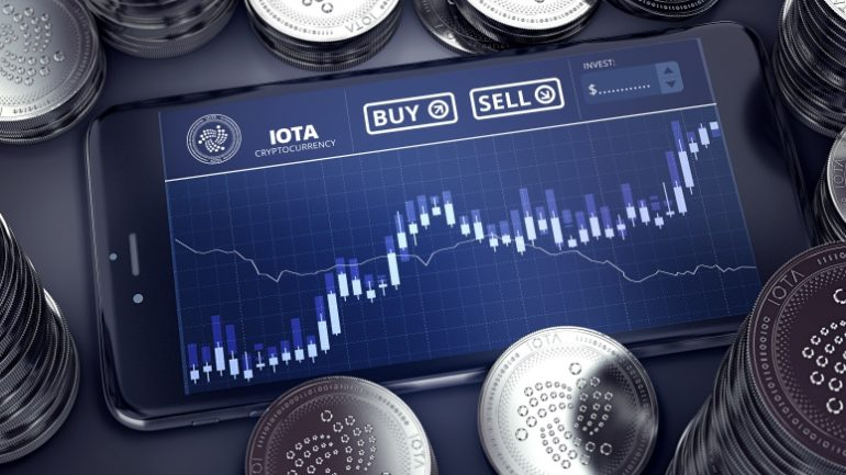 iota buy and sell button on a smartphone