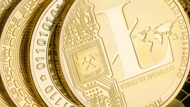 Detail of a gold Litecoin cryptocurrency