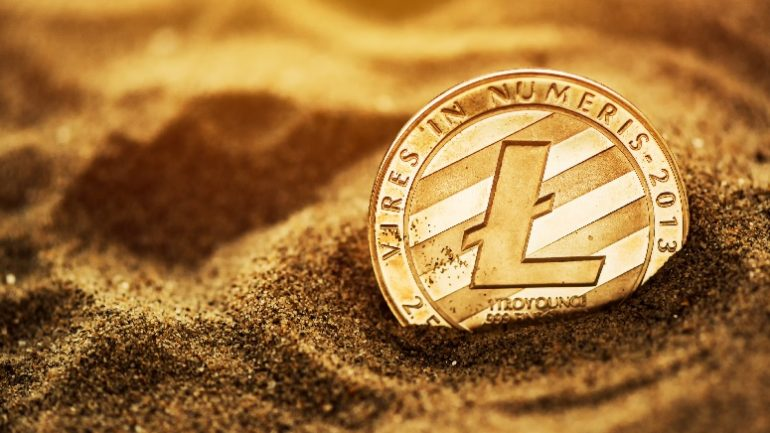 golden Litecoin in Sand