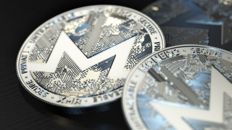 Monero coin XMR in silver