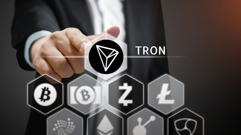 Tron cryptocurrency pictured with other cryptocurrencies like Litecoin and Bitcoin