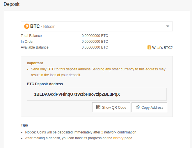 binance btc deposit
