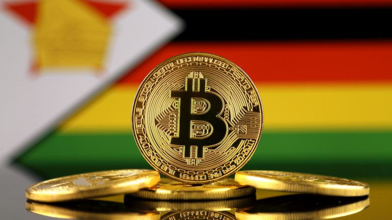 bitcoin in front of ghana flag