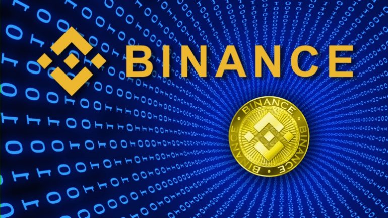 Binance logo on binary background