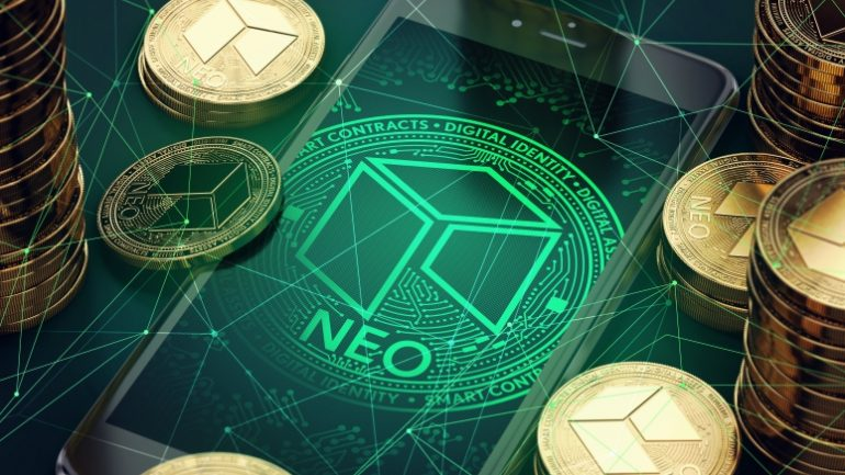Smartphone with NEO symbol on-screen among piles of golden NEO coins