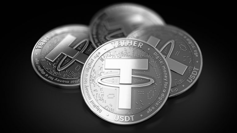 Stack of four silver Tether (USDT) coins laying on the black background. 3D rendering