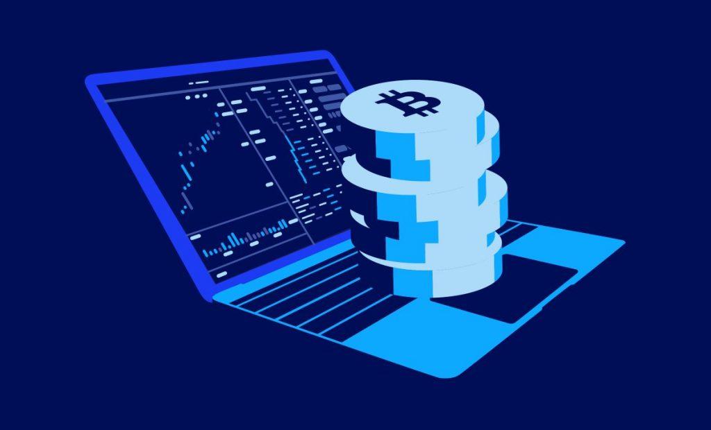 bitcoin på en bärbar datorillustration