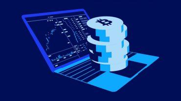 bitcoin on a laptop illustration