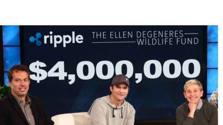 ripple logo with ashton kutcher and ellen