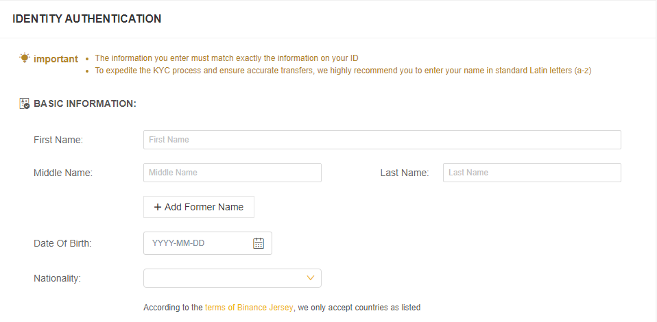 Identity authentication Binance Jersey